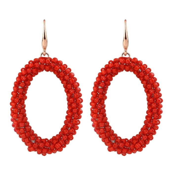 Classy bead earrings - bright red