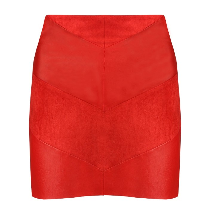 Faux Leather Skirt Red
