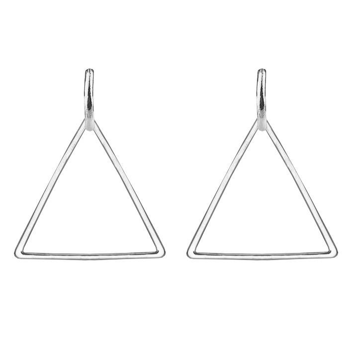Triangle Pendant Earrings - Silver/Gold