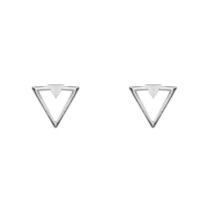 Triangle Stud Earrings Gold Silver