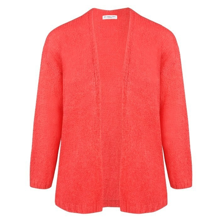 Knitted Oversized Cardigan Neon Coral