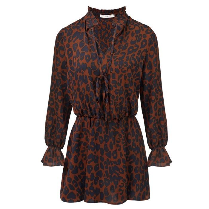 Leopard Dress - Rust Brown/Navy
