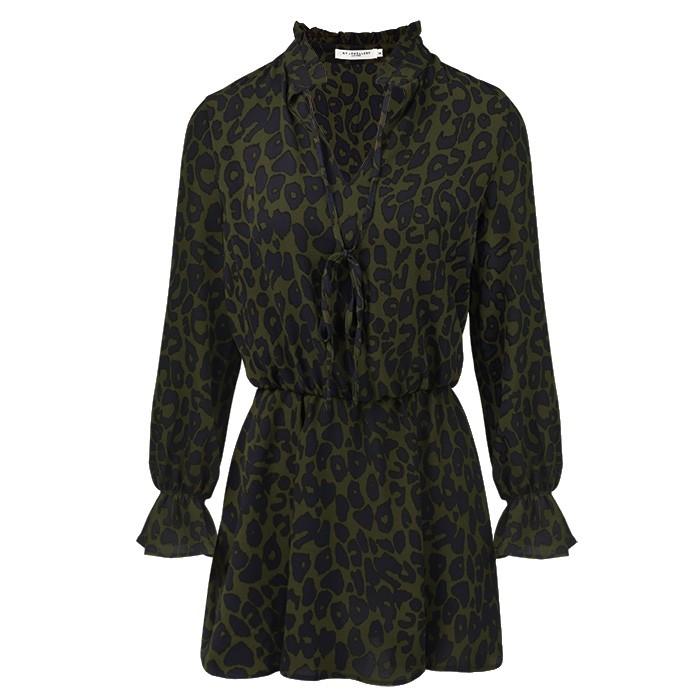 Leopard Dress - Kaki/Navy