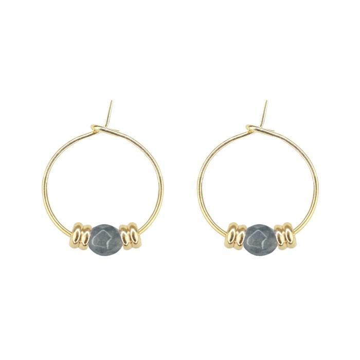 Bead Earrings Grey Gold Silver
