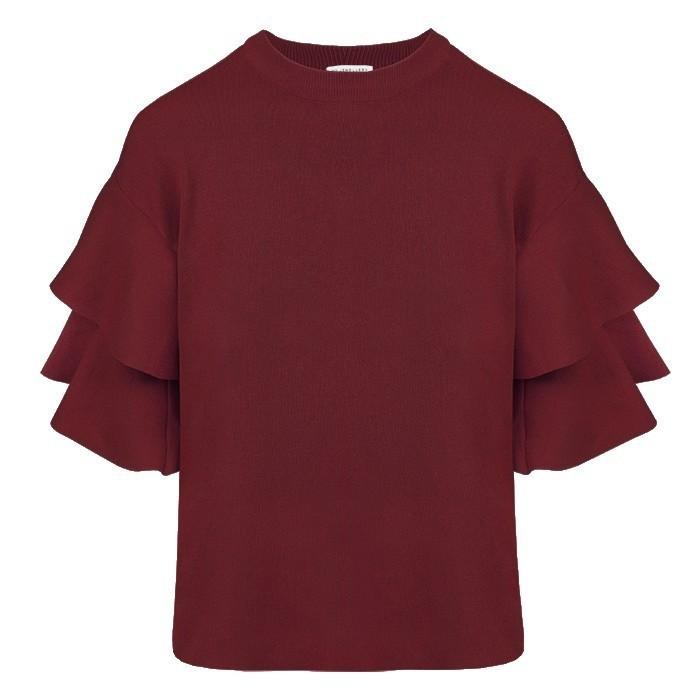Ruffle Sleeve Top – Burgundy