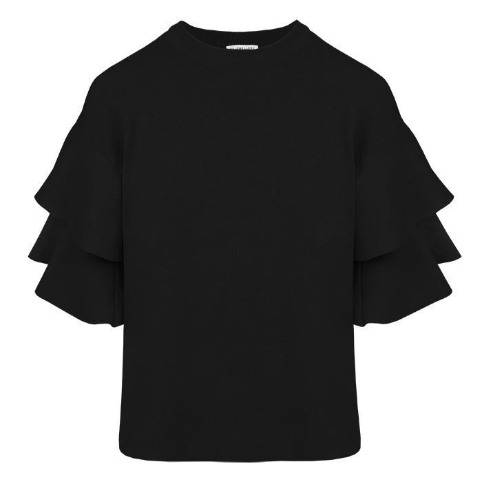 Ruffle Sleeve Top – Black