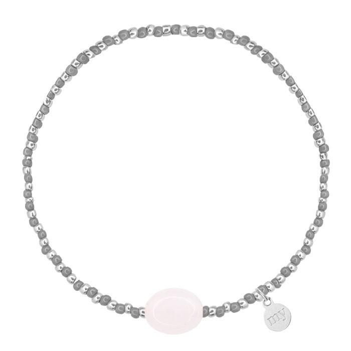 Small Beads Bracelet Grey/Rosequartz - Gold/Silver
