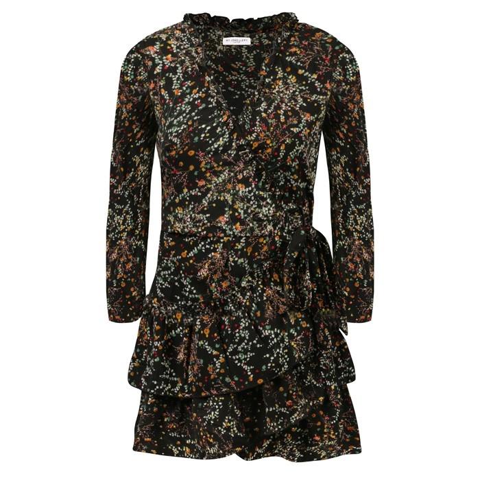 Ruffle Wrap Dress Black