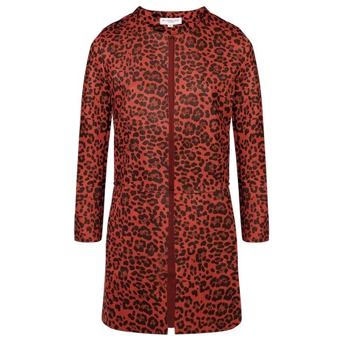 Suedine Leopard Blazer Red