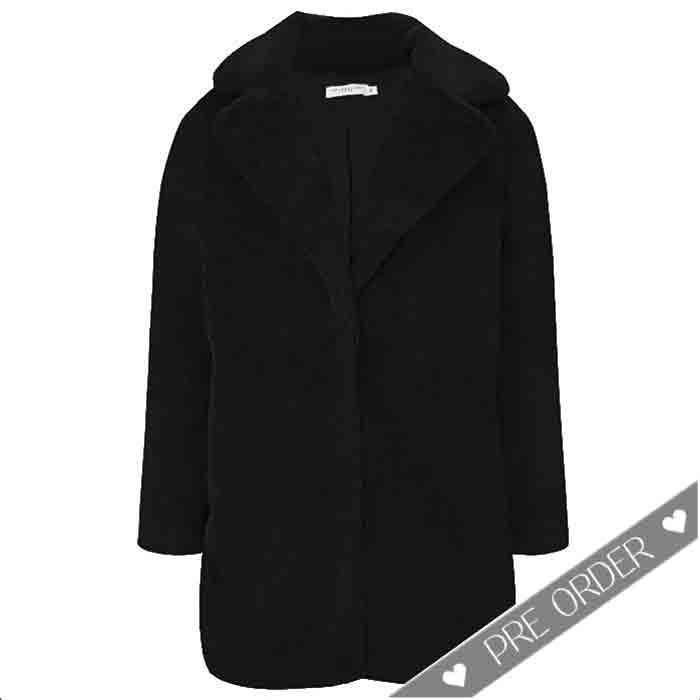 PRE ORDER Faux Fur Coat Black