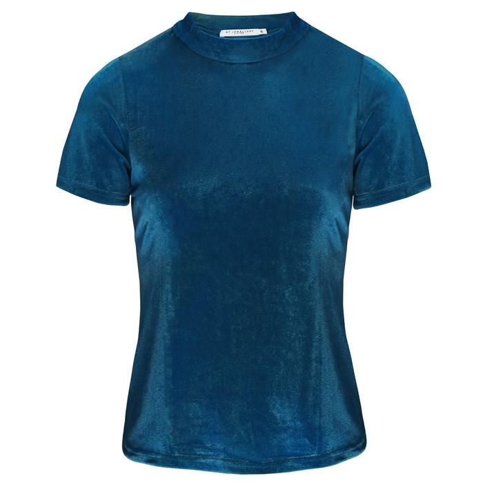 Velvet Short Sleeve Top Blue