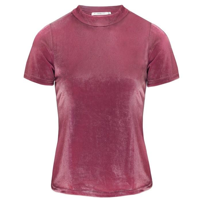 Velvet Short Sleeve Top Pink