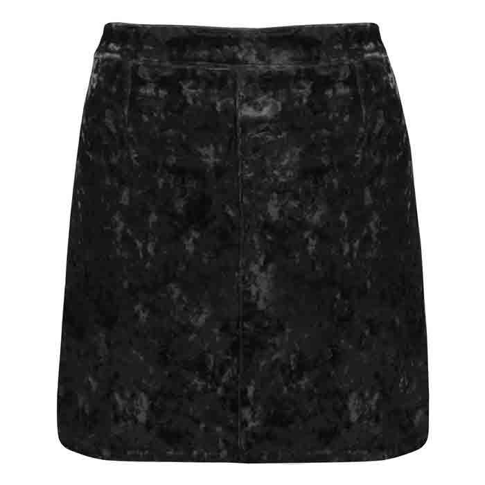 Crushed Velvet Skirt Black