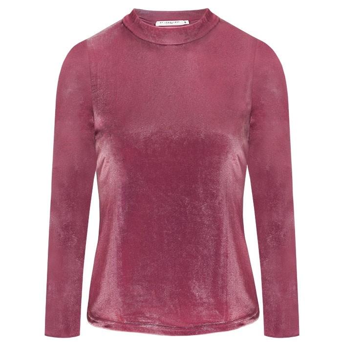 Velvet Long Sleeve Top Pink
