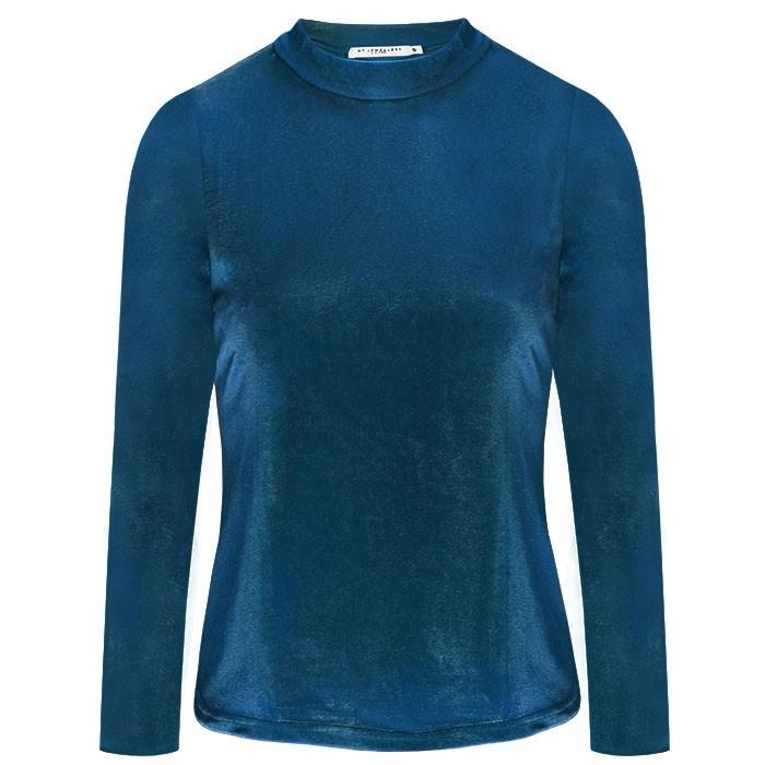Velvet Long Sleeve Top Blue
