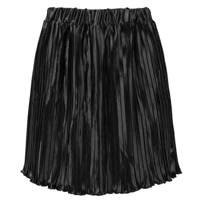 Metallic Plissé Skirt Black