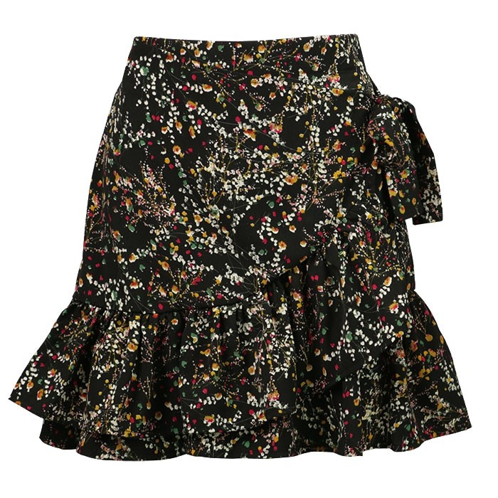 Flower Ruffle Skirt - Black