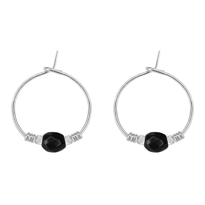 Large Bead Earrings Black - Gold/Silver