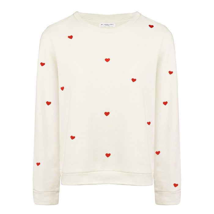 Small Heart Sweater - Creme/Red