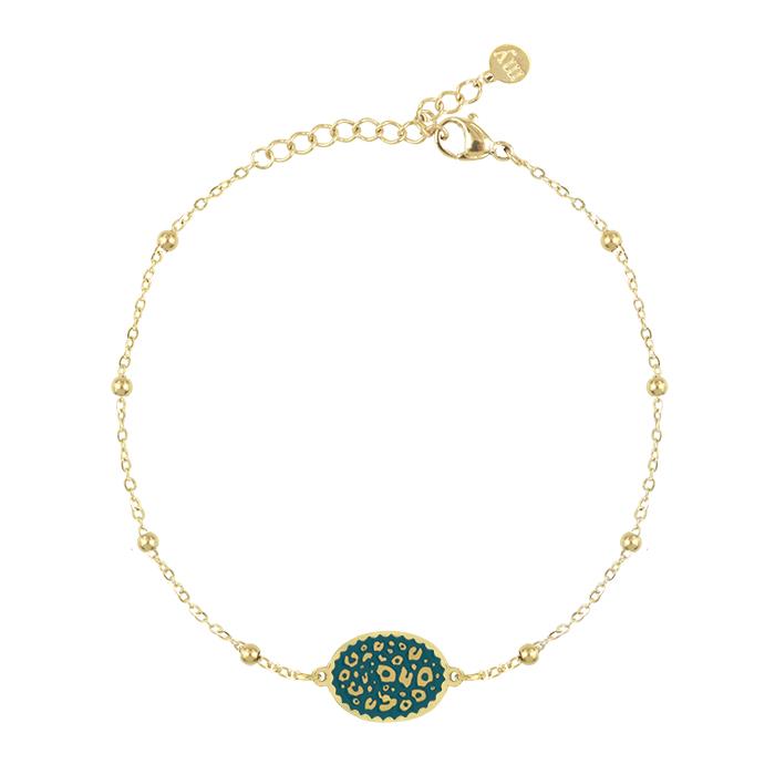 Afbeelding van armband bedel luipaard turquoise, Minimalistische