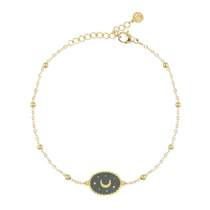 Afbeelding van Armband bedel maan grijs, Minimalistische Armbanden