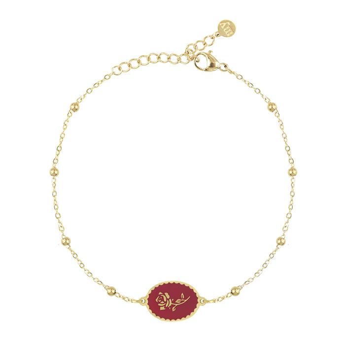 Afbeelding van armband bedel roos rood, Minimalistische