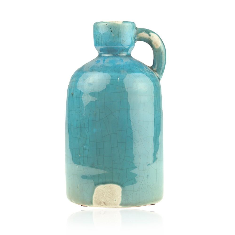 Mooie blauwe grote decoratievaas die beschadigd lijkt, maar dat hoort bij de antieke uitstraling. de vaas kan ...