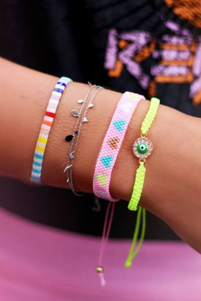 Roze armband kraaltjes & hartjes