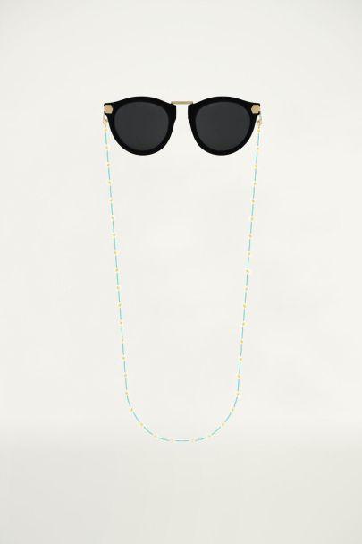 turquoise zonnebrilkoord madeliefjes, zonnebrilkoordje My Jewellery