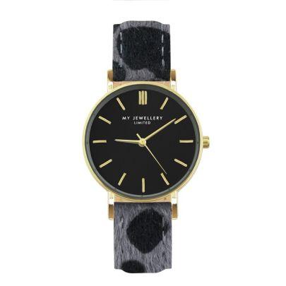 My Jewellery Horloge luipaard print grijs goud