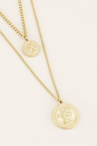 Dubbele ketting munt, laagjes ketting muntjes My jewellery