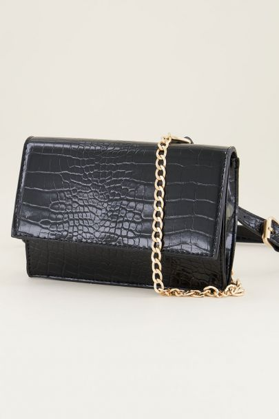 Black bum bag with double strap