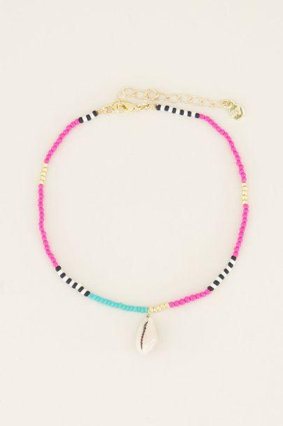Enkelbandje roze & multikleur kraaltjes & schelp