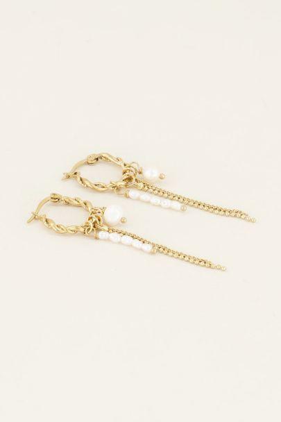 Oorringen witte sliertjes & kraaltjes My jewellery