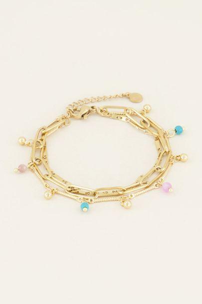 Driedubbel armbandje kralen & schakels | My Jewellery