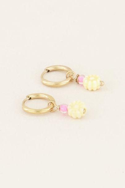 Earrings with beige flower bead | My Jewellery