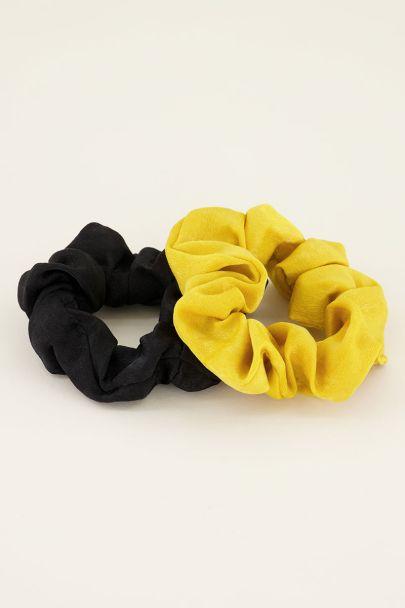 Scrunchie set geel & zwart | Haaraccessoires My Jewellery
