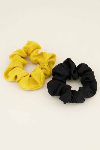Geel & zwarte scrunchie set