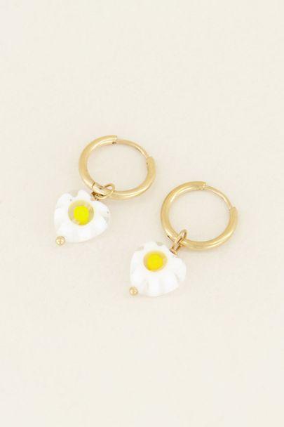 Oorringen witte bloemetjes | My Jewellery