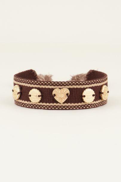 Bruine bohemian armband met bedeltjes | My Jewellery