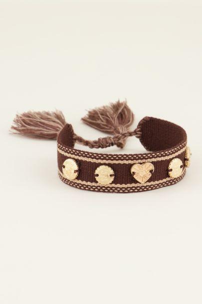 Bruine bohemian armband met bedeltjes