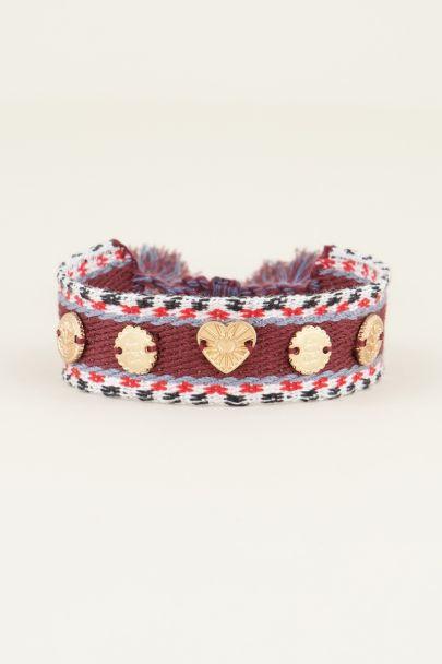 Donkerrode bohemian armband met bedeltjes | My Jewellery