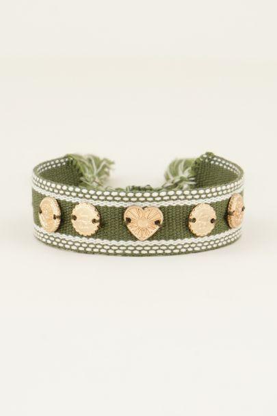 Groene bohemian armband met bedeltjes | My Jewellery
