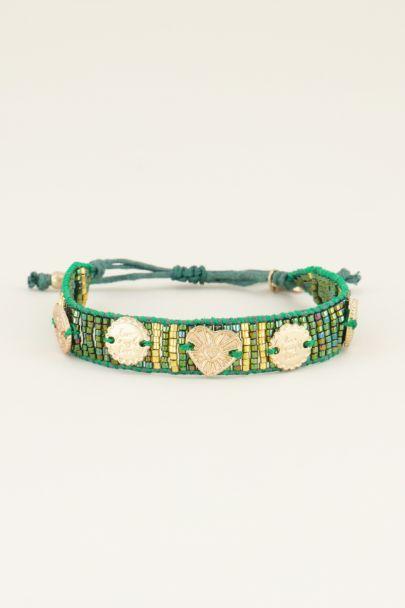 Grünes Armband mit Anhängern und Perlen| My Jewellery