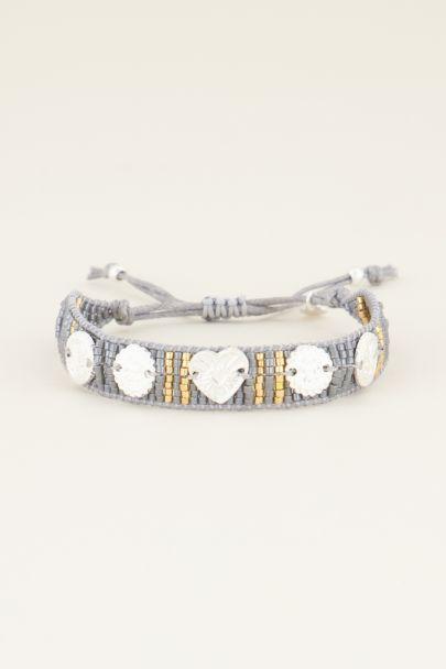 Grijze armband bedels & kraaltjes