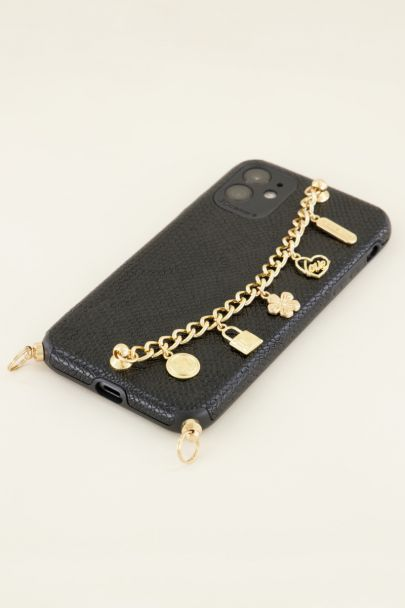 Zwart telefoonhoesje met ketting | My Jewellery