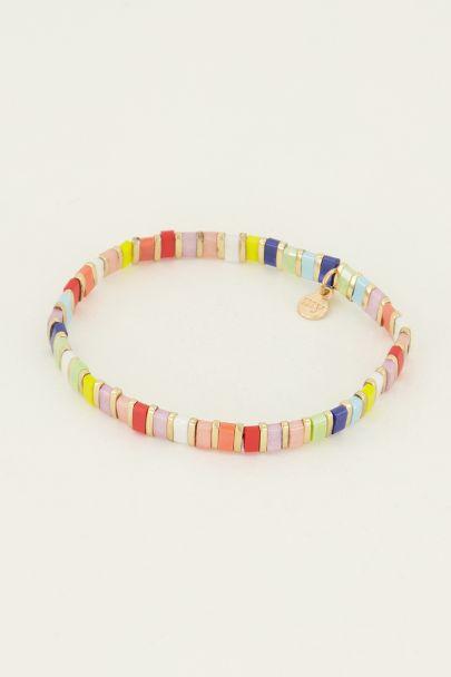 armband multikleur platte kralen | My Jewellery