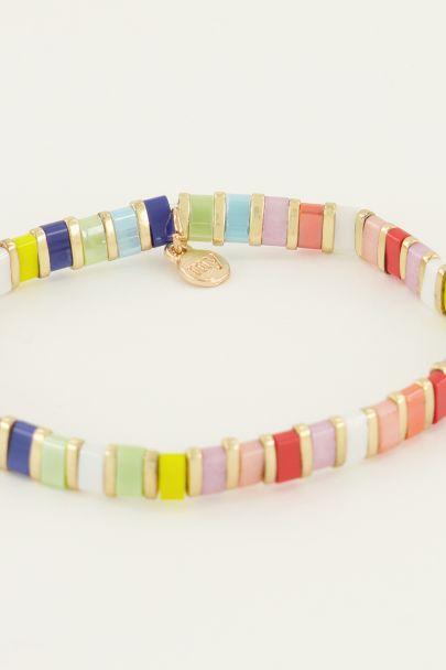 Armband multikleur platte kralen