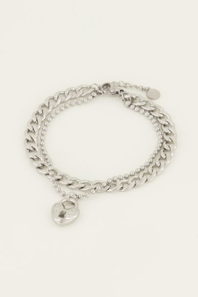 Dubbele schakelarmband met slotje | My Jewellery
