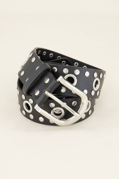 Riem met zilverkleurige metalen ringen & studs